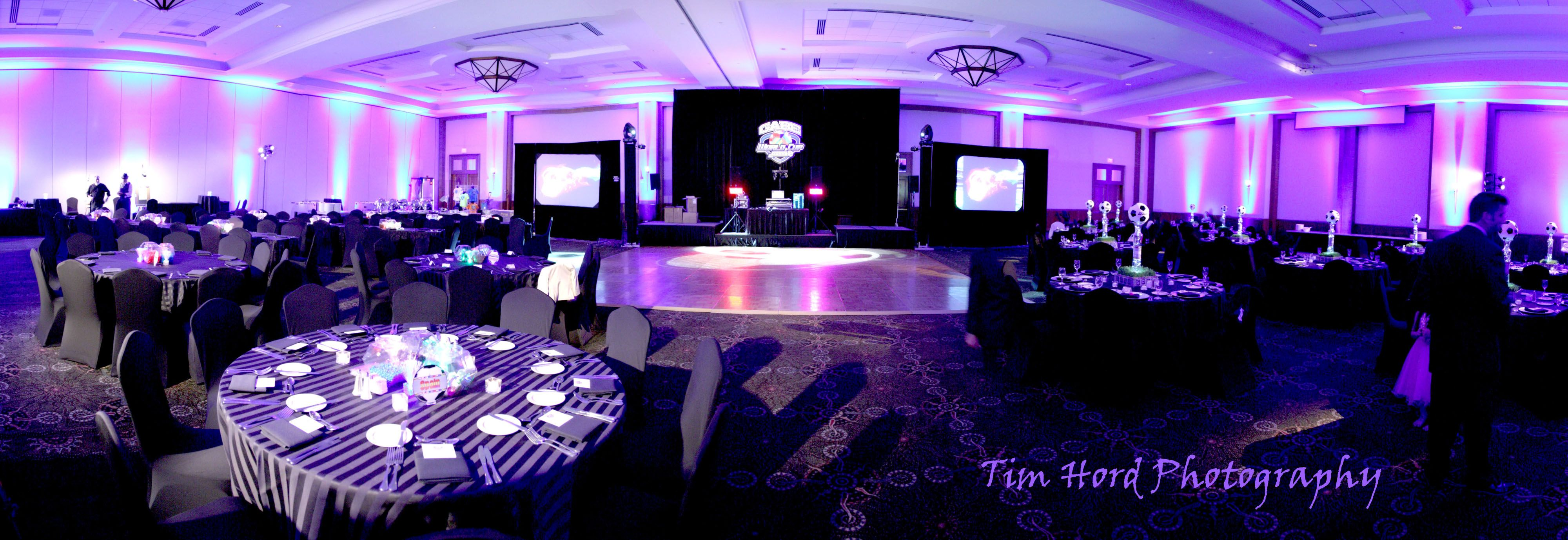 Uplighting And Audio Visual By BEYOND Adds The Perfect Elements To This Party At Marriott Legacy