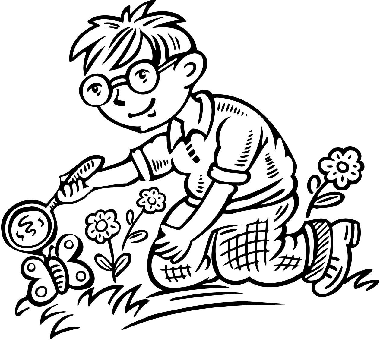 coloring sheet of a boy looking at a butterfly through a magnifying