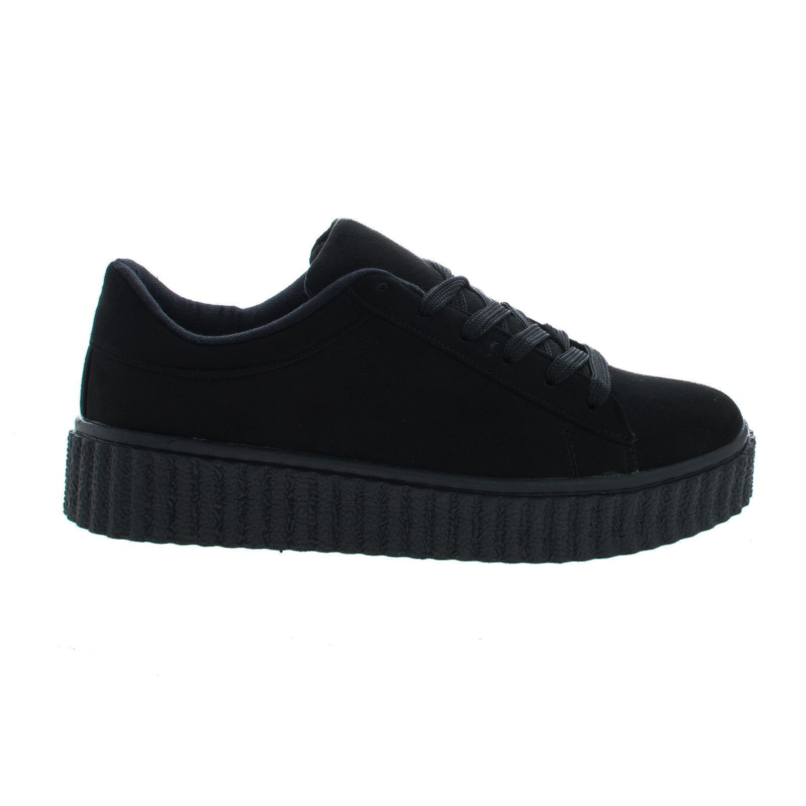7e56a6a8ae Caleb02 Black Suede Lace Up Sneaker w Rubber Texture Ridges Thick Platform  Sole