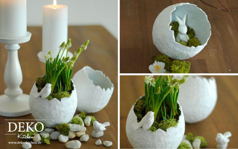 DIY: Hübsche Oster-Deko-Vasen einfach selber machen Deko Kitchen. Video-Tutorial unter www.deko-kitchen.de #gesso