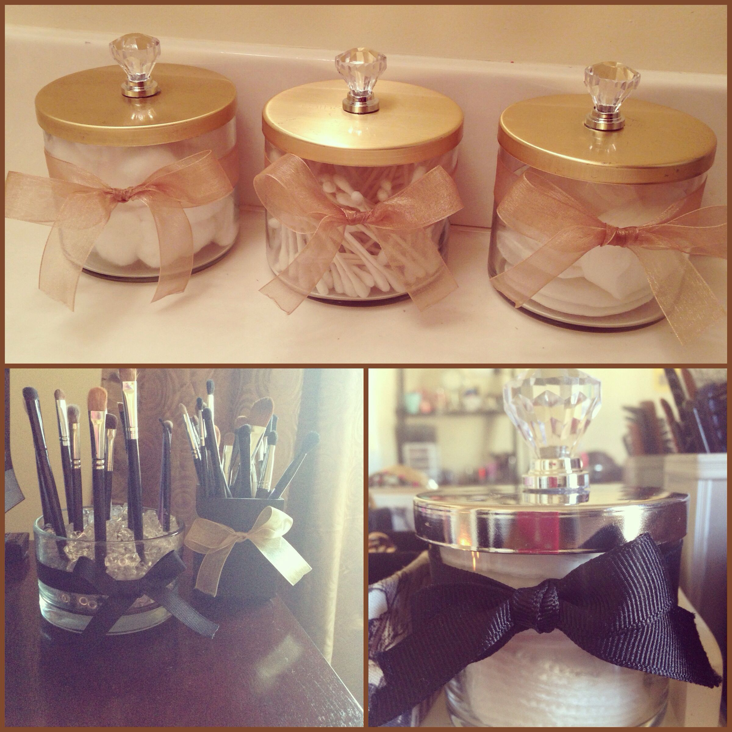 Added some ribbons and knobs on old bath and body works candle jars that were just sitting around the house. #DIY #candles