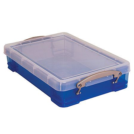 Really Useful Boxes Plastic Storage Box 4 Liters 3 14 H X 10 14 W X 14 12 D Blue By Office Depot Officemax Plastic Box Storage Sand Tray Plastic Storage