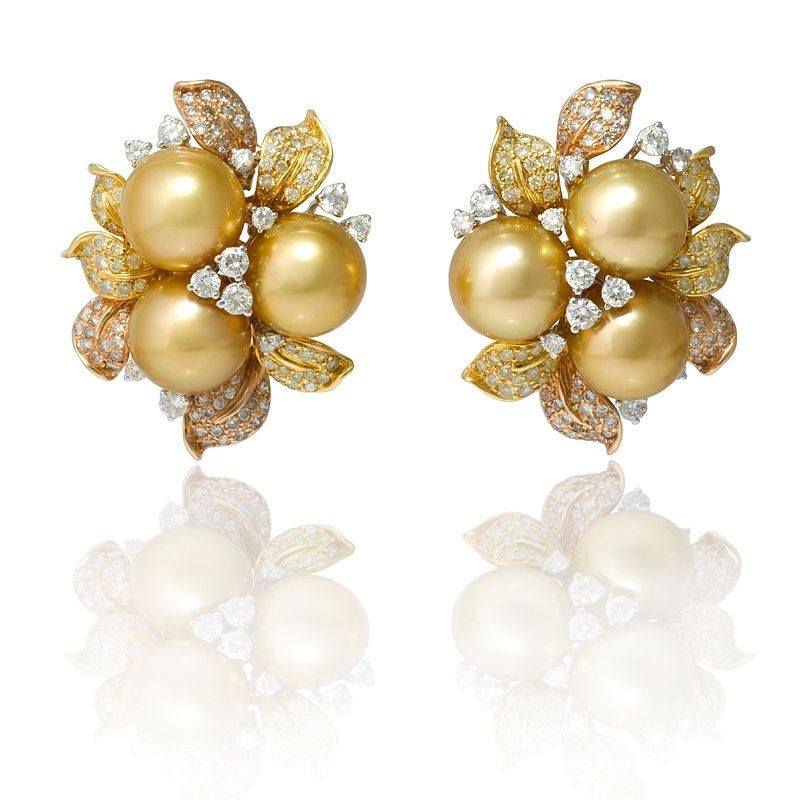 3 96ct Diamond And South Sea Pearl 18k Three Tone Gold Cer Earrings