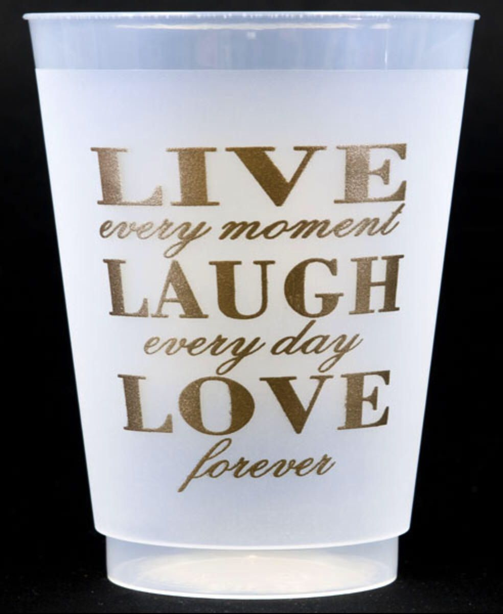 Live Laugh Love Gold Frosted Cups, 16 oz, Shatterproof, Frosted ...