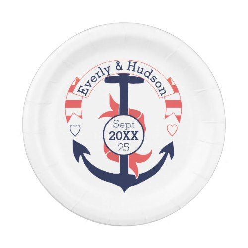 Personalized Nautical Navy Coral Wedding Anchor Paper Plate  sc 1 st  Pinterest & Personalized Nautical Navy Coral Wedding Anchor Paper Plate | Navy ...