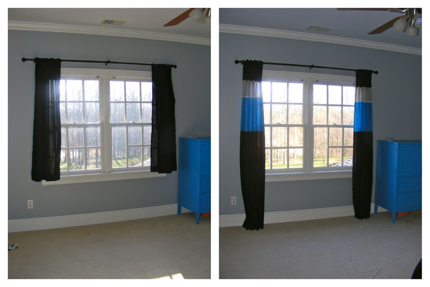 Add Color To Make Clearance Curtains Longer. (now They Are Carolina  Panthers Curtains)