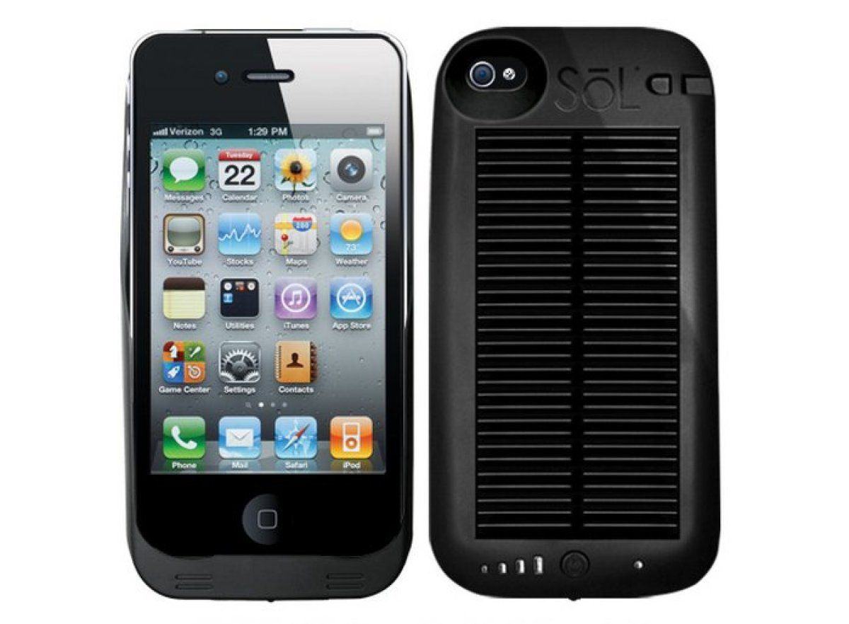 Solar iPhone Charger    The SoL Hybrid Power Pack works with both the iPhone and the iPod Touch and is essentially a case with a large internal battery and external solar panel that can be charged using sunlight or indoor light. If you're willing to drop $99.95 on the case, you'll be able to charge your iPhone without having to worry about finding an outlet.