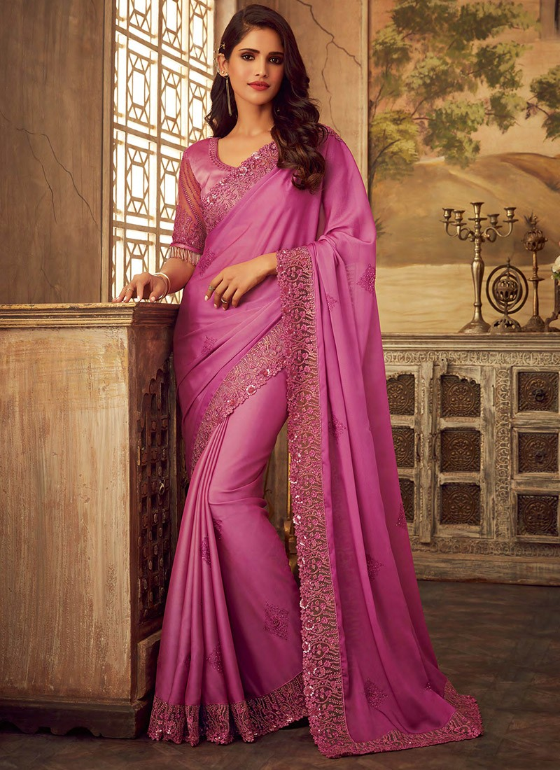 Photo of Pink Party Wear Embroidered Designer Sari SF9211-8