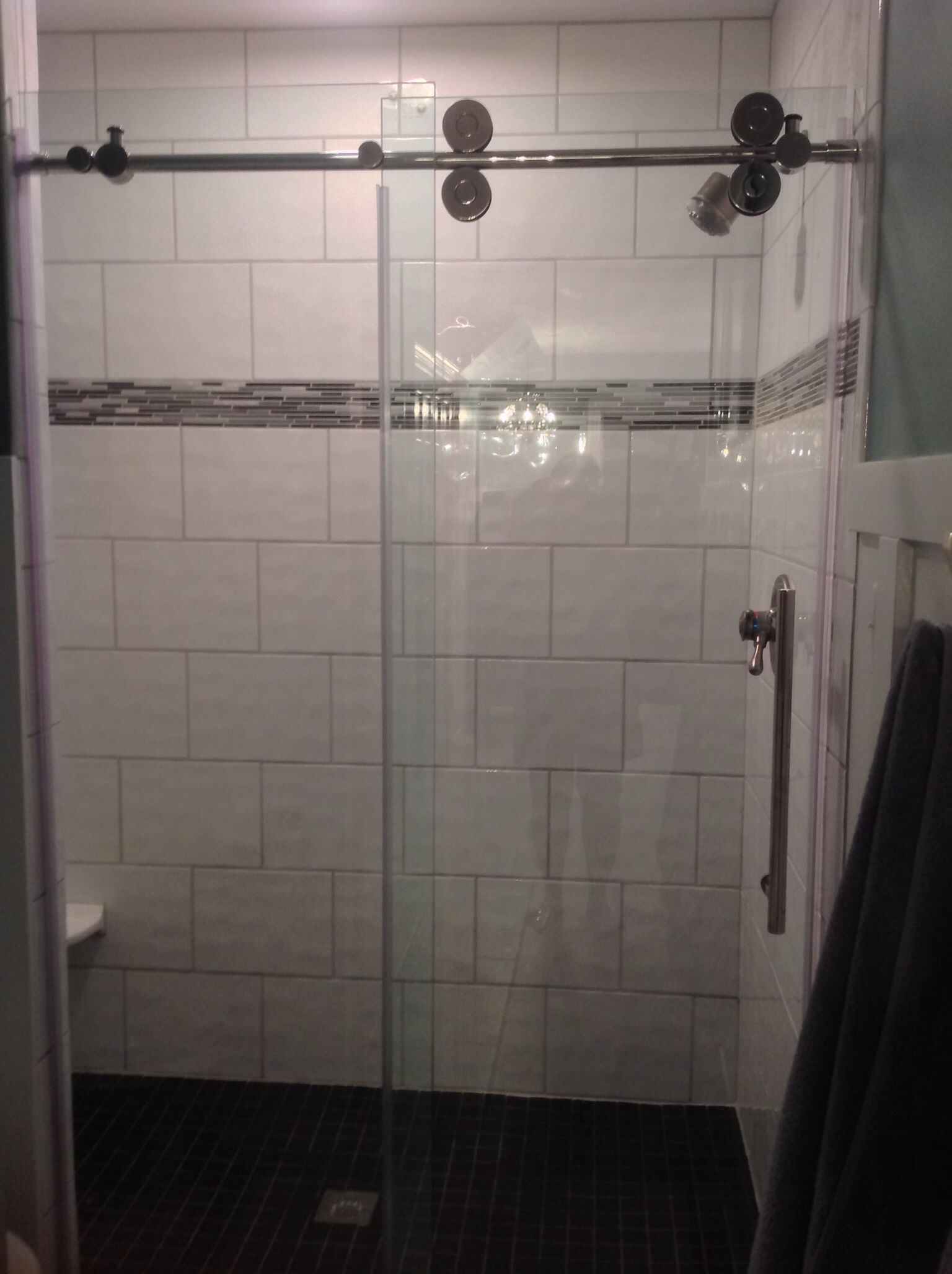 Removed Almond Cultured Marble Showeradded Wavy White Rectangular Tile In A Subway Pattern