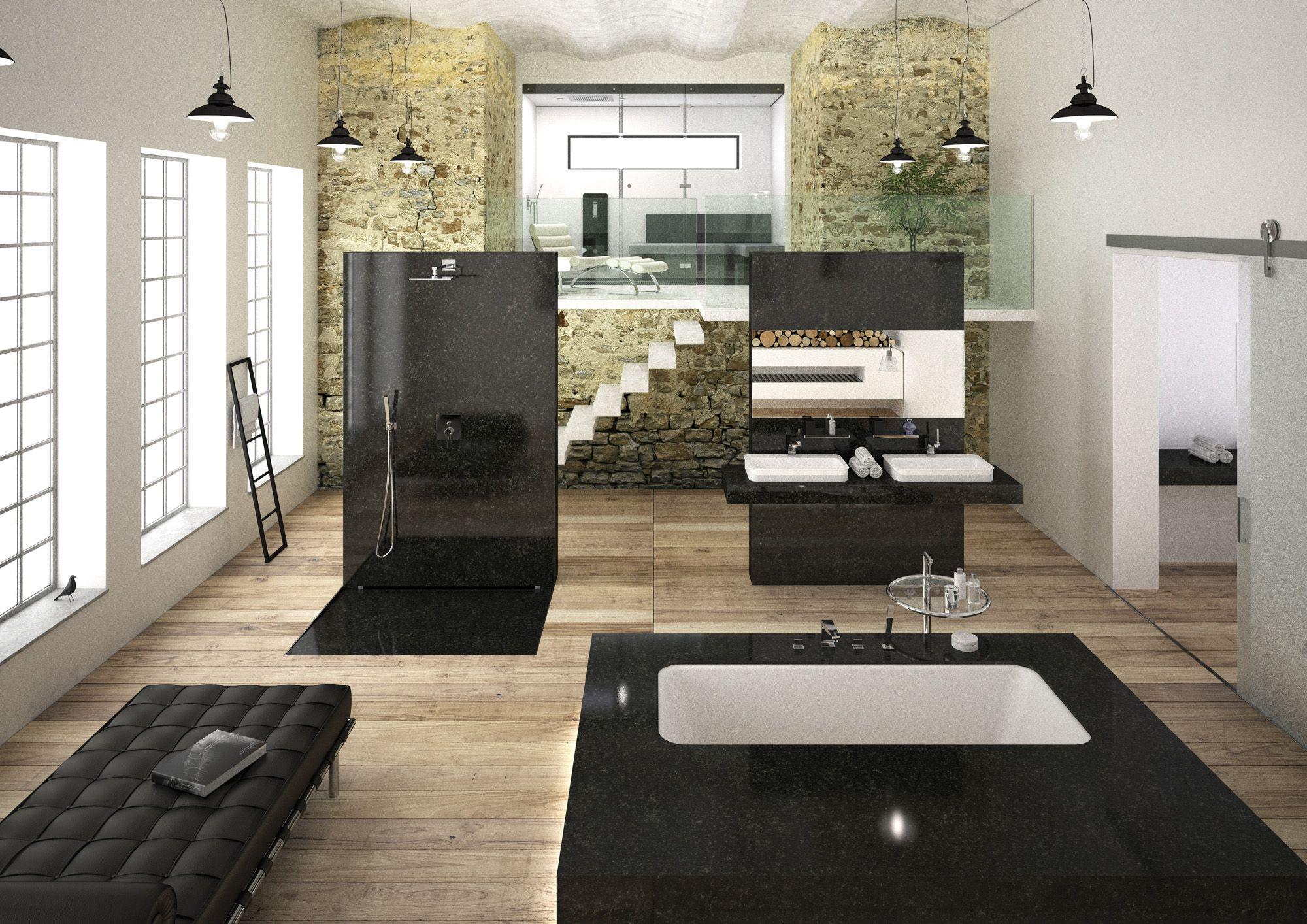 Stylige Badezimmereinrichtung In Einer Alten Industriehalle Foto Trendmagazin Wohnbaden Fotostudio Tlle