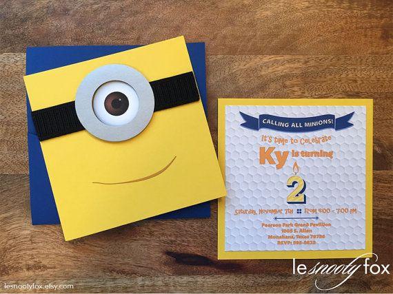 Minion Birthday Invitation Despicable Me 3d Pop Up Design By Le Snooty Fox Minion Birthday Invitations Minion Birthday Birthday Invitations
