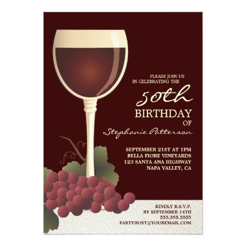 Lovely Wine Grapes 50th Birthday Invitation 50th Birthday Party