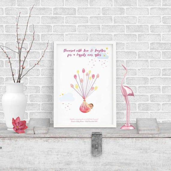 Baby Shower New Baby Bundle - Framed Personalised Balloon Fingerprint Tree - Thumbprint Guestbook - Baby Girl