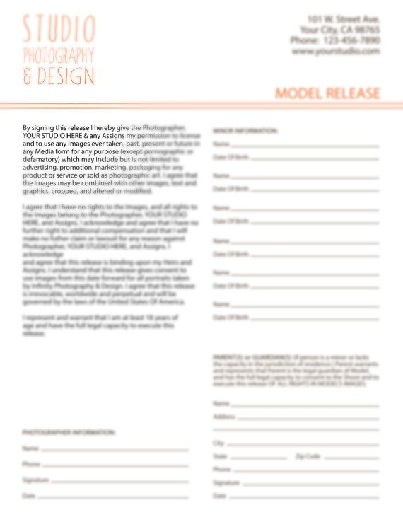 Photography Model Release Form For Portrait Photographers