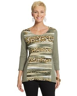 Chico's Brie Cheetah Stripe Knit Top #chicos