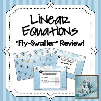 Linear Equations Fly Swatter Review Game Standard Form Equation
