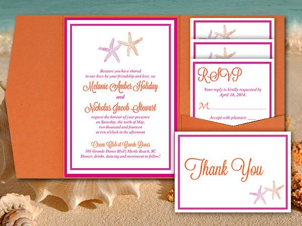 Starfish Wedding Pocketfold Template Beach Wedding Invitation