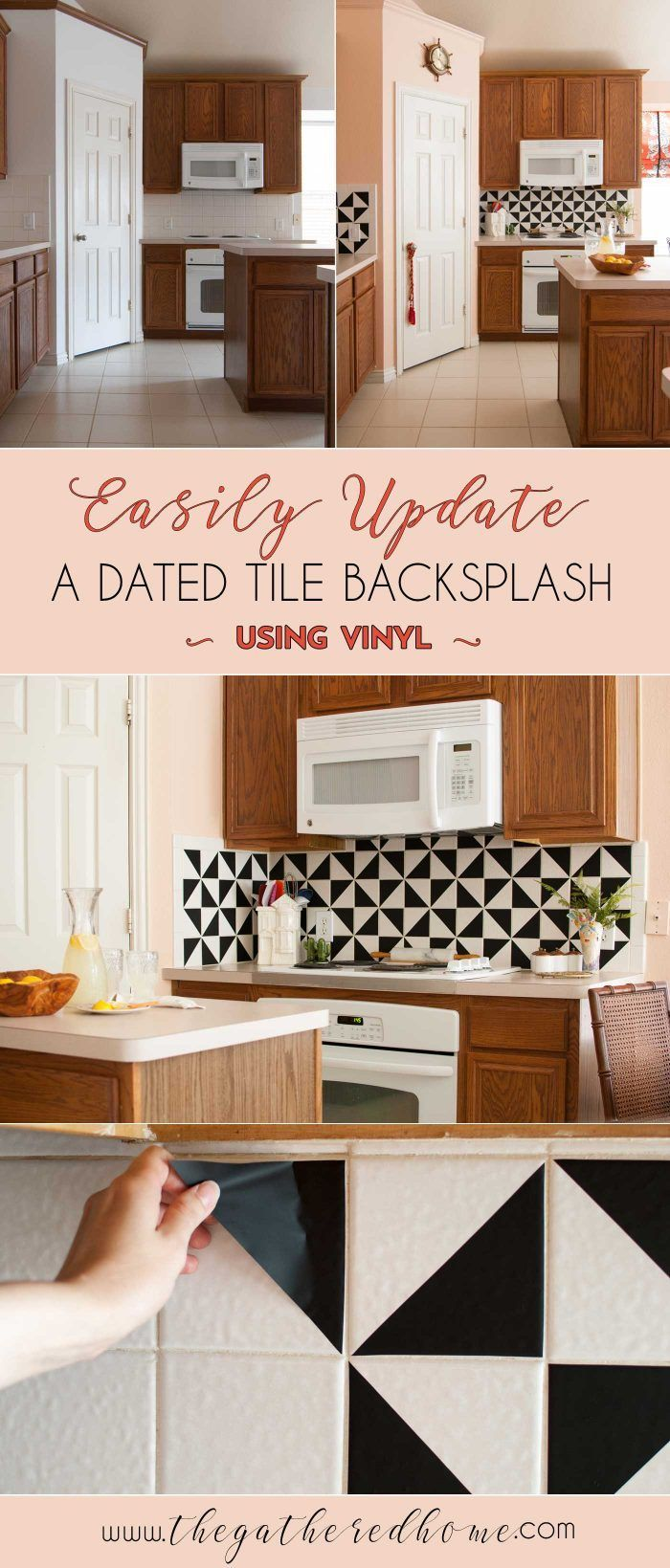 Diy black and white vinyl backsplash kitchen backsplash cement i love the look of trendy black and white cement tiles this diy kitchen backsplash makeover uses vinyl to get a similar look what dailygadgetfo Image collections