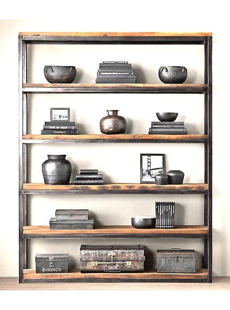 Libreria cargo vintage Bamba ferro e legno grezzo 160x180x25 | Studio