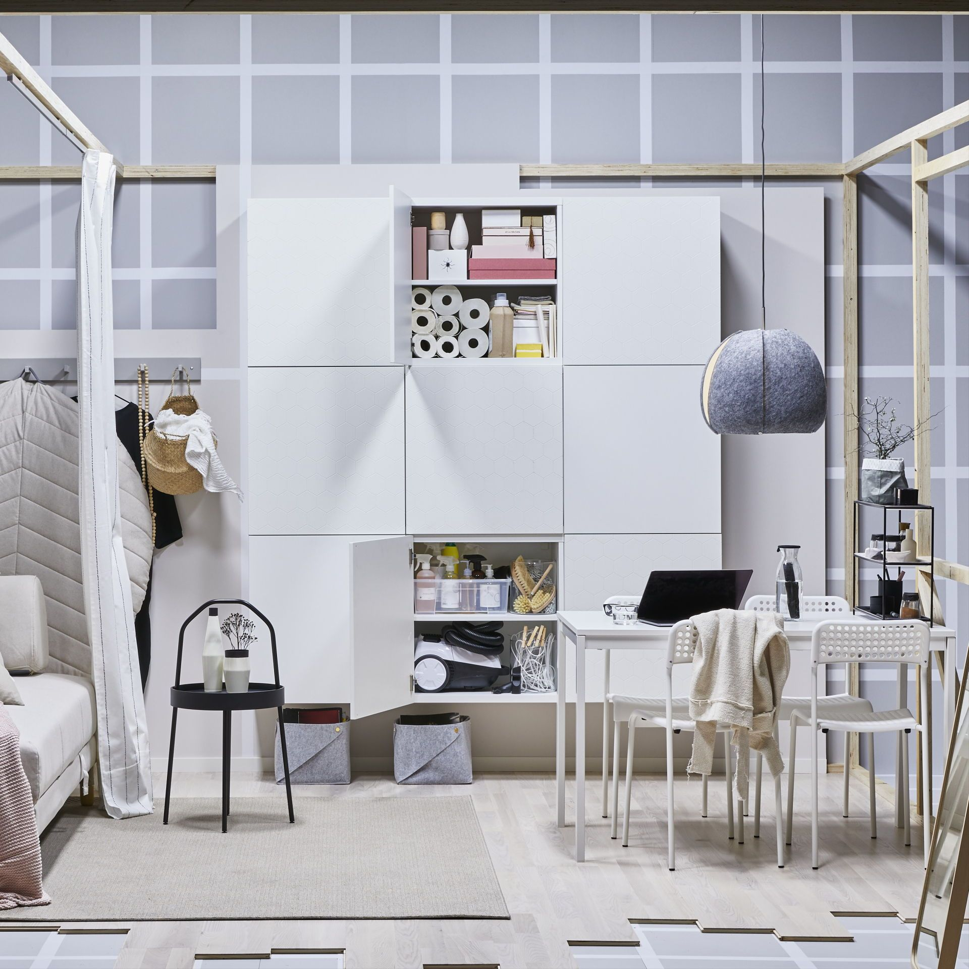 1786de4ab6b IKEA BESTÅ closed storage cabinet system and new VASSVIKEN honeycomb doors  work together to create a modern living room with smart and …