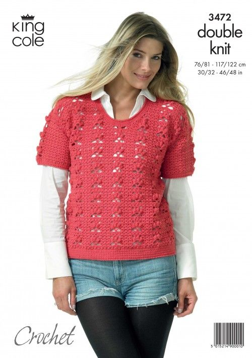 Crochet Short Sleeved Tunic Top King Cole Crochet Patterns To