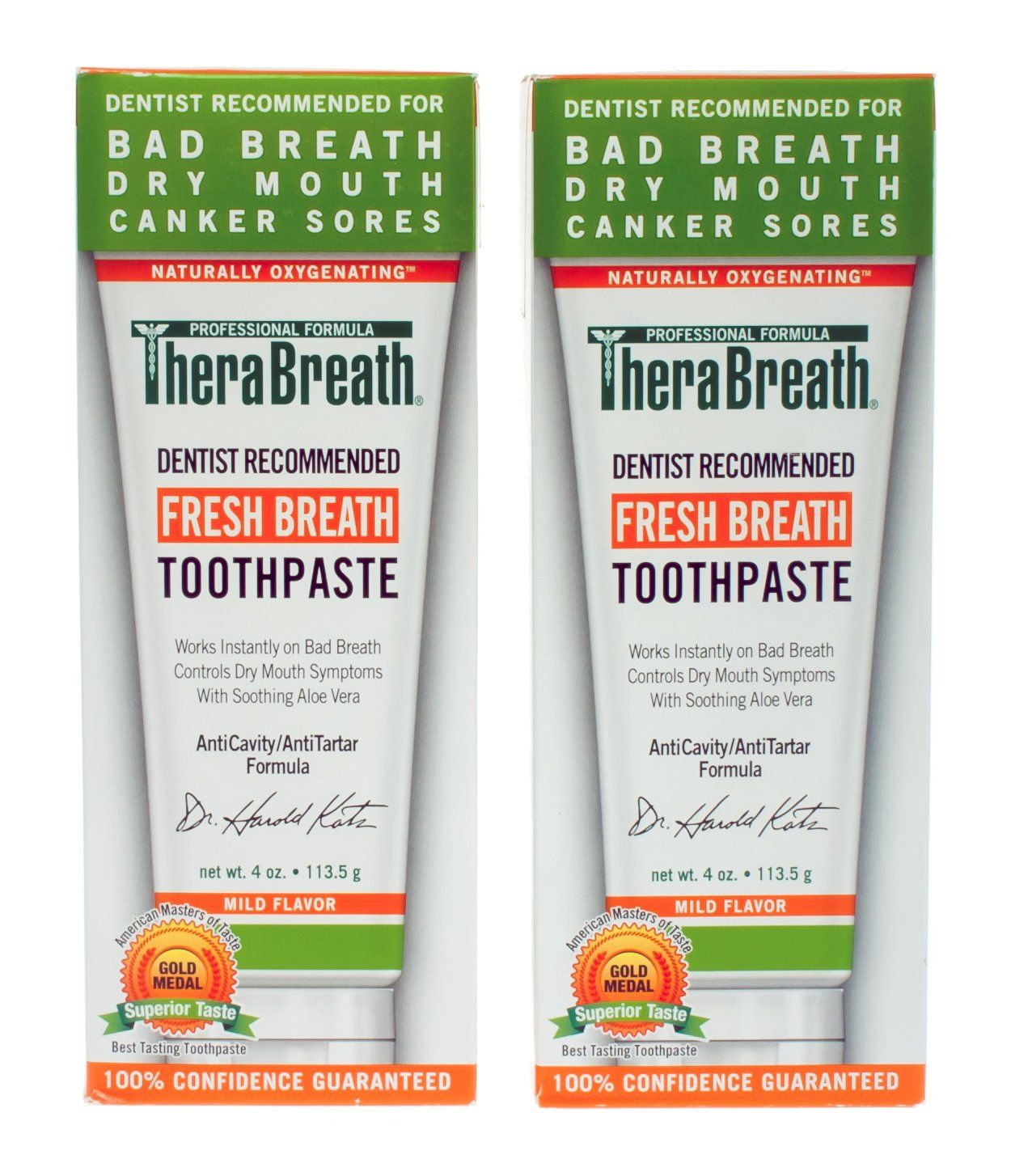 Amazon.com: TheraBreath Dentist Recommended Fresh Breath Dry Mouth Toothpaste, Mild Mint, 4 Ounce (Pack of 2): Beauty