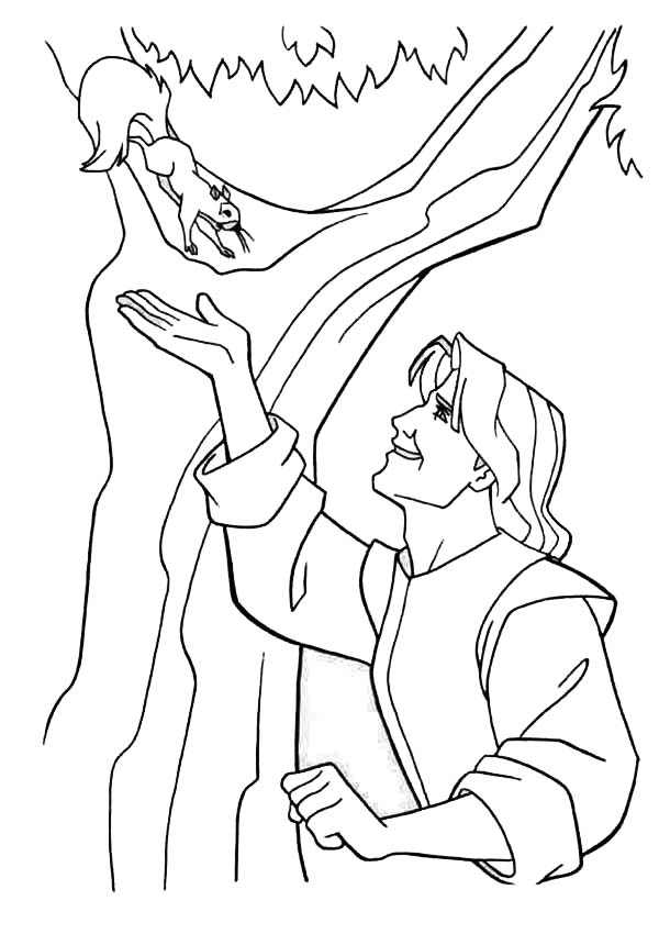 John Smith And Squirrel Pocahontas Coloring Page : Kids ...