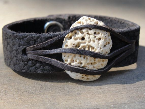 Leather cuff with stone from the Black Sea.