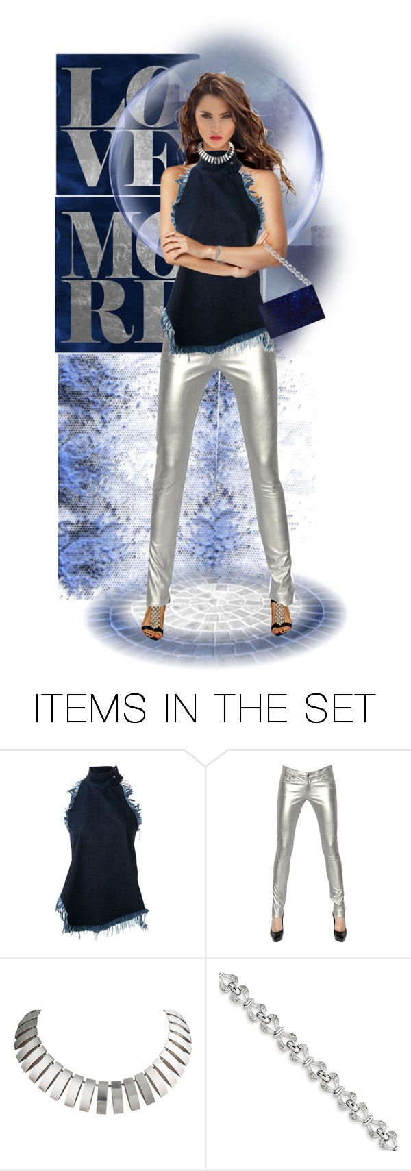 """""""Loving this Marques'almeida frayed denim halter!"""" by jothomas ❤ liked on Polyvore featuring art"""