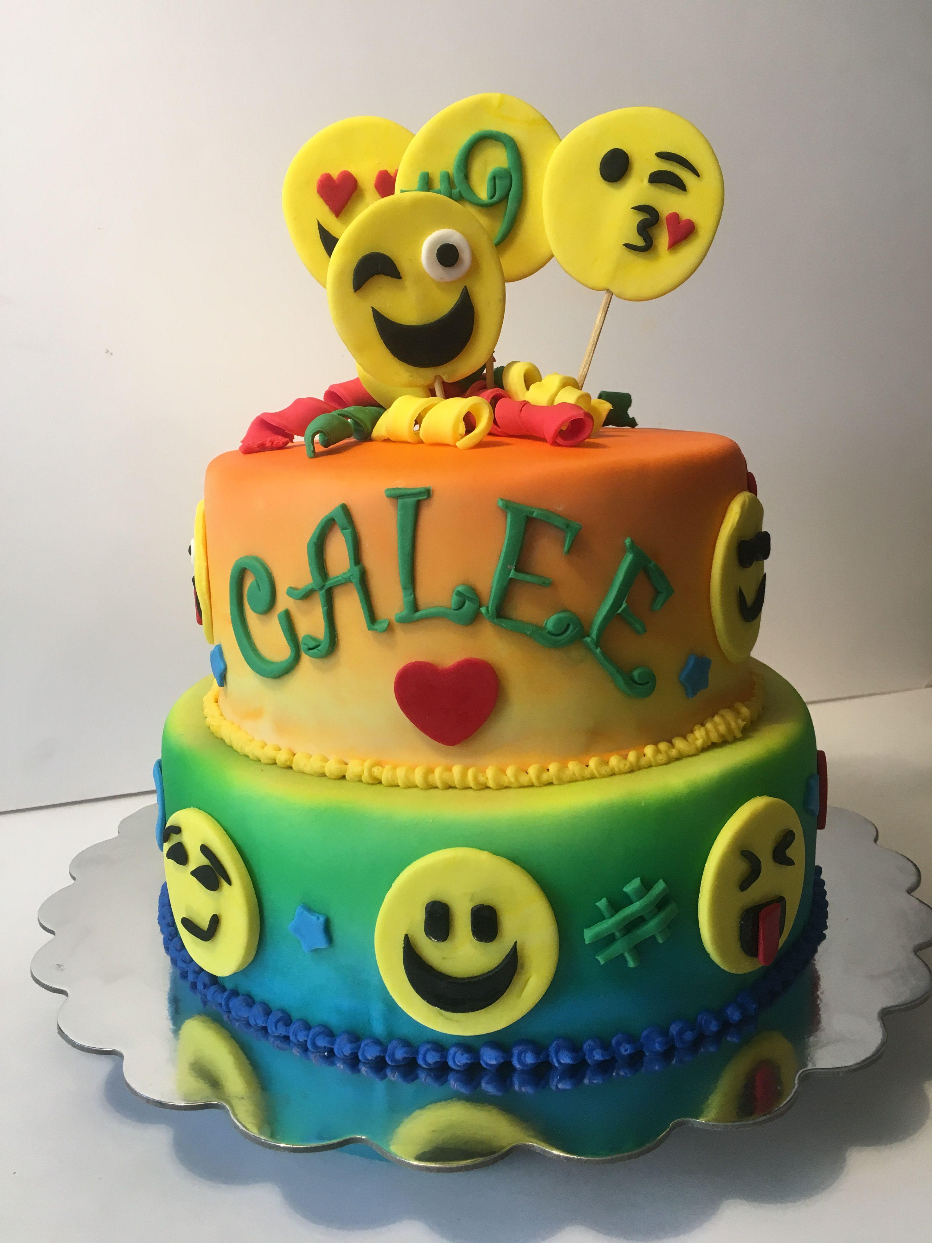 Emoji Themed Tie Dye Birthday Cake