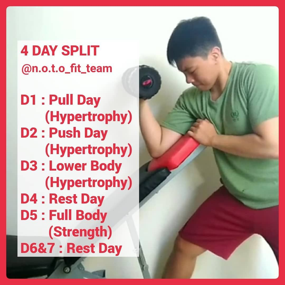 4 Day Split, Try it 💪 . Follow, like, and share 👍👍👍👍 .    #fitness     #fit     #fitnessmotivation  ...