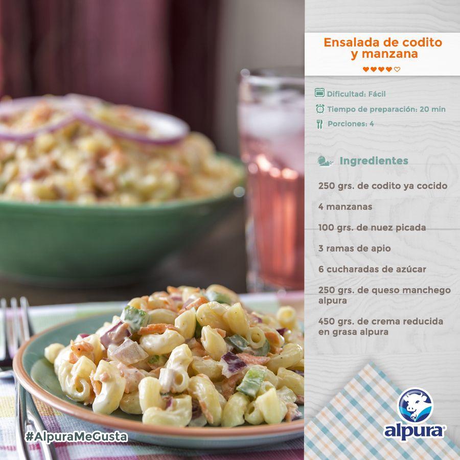 ¿Te agarraron las prisas a la hora de la comida? ¡Entonces prepara esta facilísima Ensalada de Codito y Manzana! #ConSaborAlpura #Alpura #Pasta #Codito #Manzana #Recetas #Ensalada #Sopas #Recipes #Food #Salad #Pasta #PastaSalad Checa cómo se prepara aquí: http://alpura.com/recetario/detalle-4-ENSALADA-DE-CODITO-Y-MANZANA