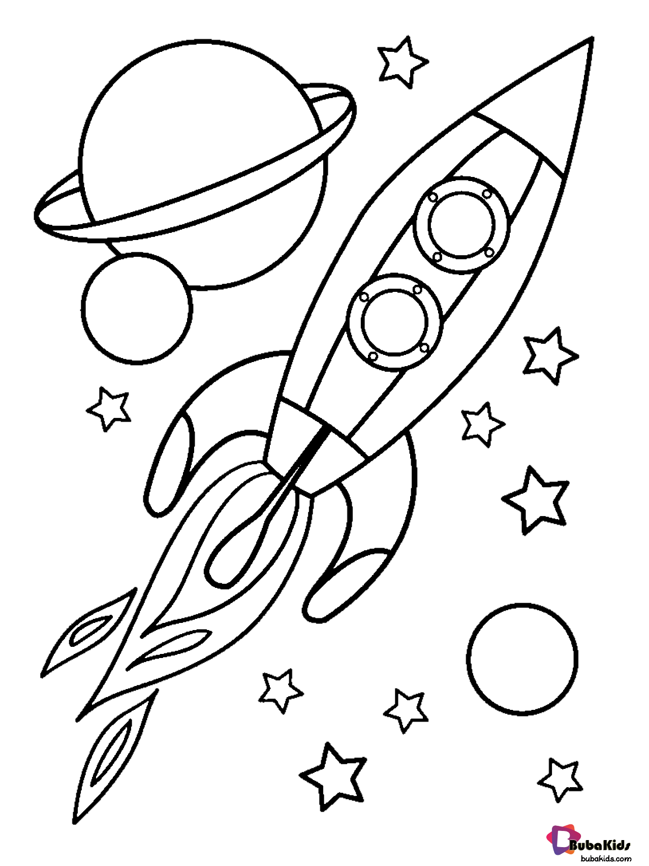 Planets Stars And Rocket In Outer Space Coloring Page Collection Of Cartoon Coloring Planet Coloring Pages Space Coloring Pages Free Printable Coloring Pages