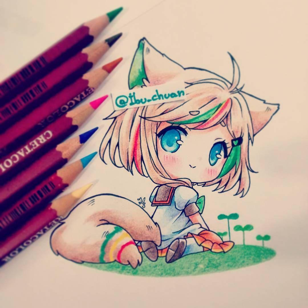 """Ella pertenece a Aluikaiser de deviantart ^^ Me encanta su OC, es tan lindo y colorido <3 """"Painted with cretacolor"""" #plants #chibi #kawaii #cute #foxgirl #kitsune #instadraw #instaanime #traditional #colorpencil #tail"""