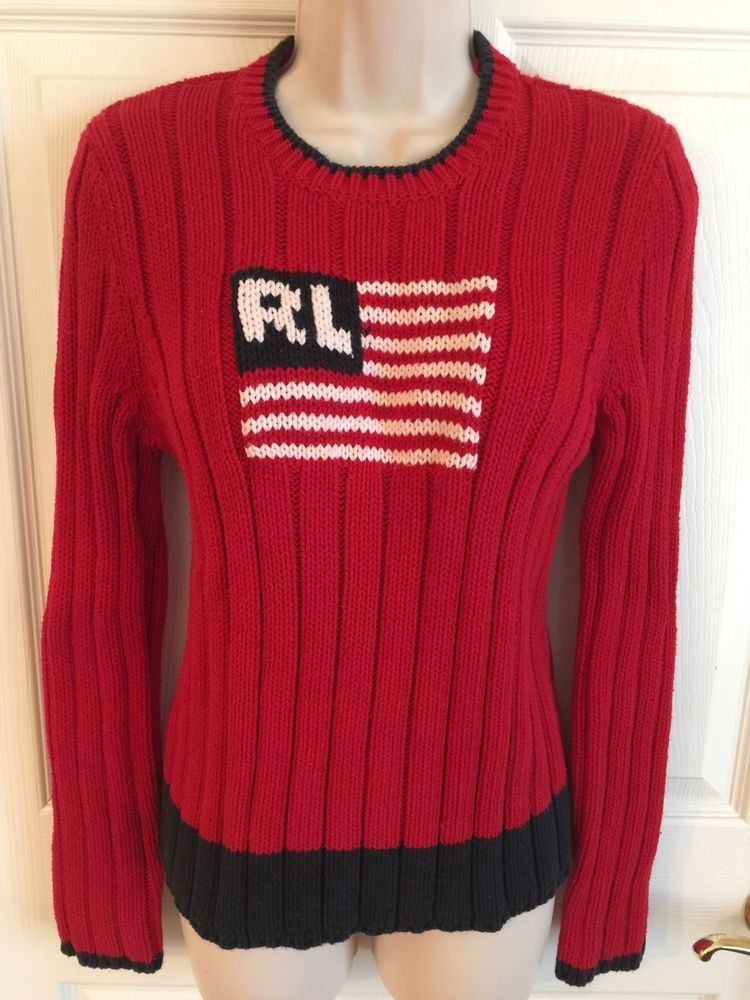 Ralph Lauren Polo Jeans Co Red USA Flag 100 Cotton Sweater Women's ...