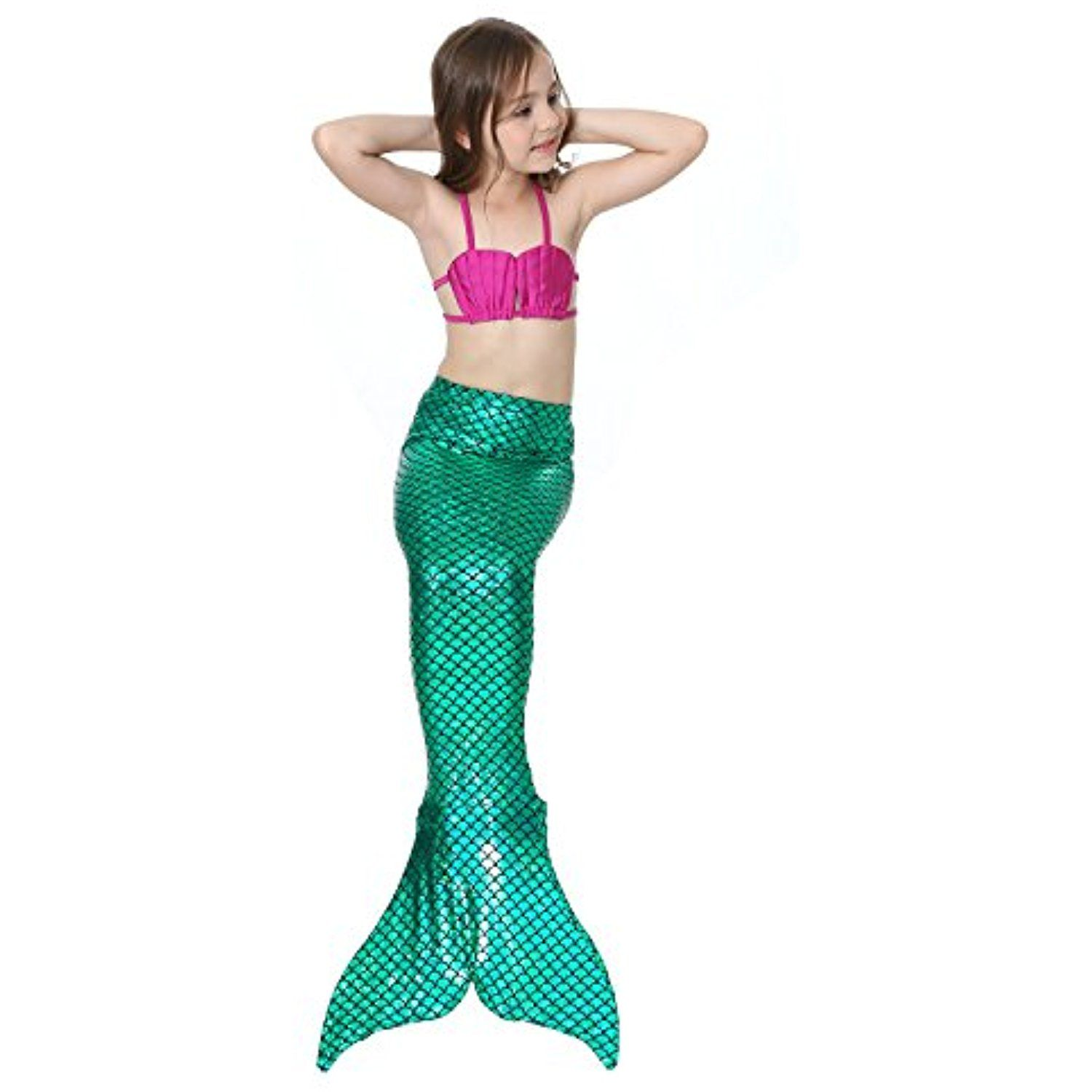 Dedila Hot Sale 3pcs Kids Girls Fancy Mermaid Tail Bikini Set