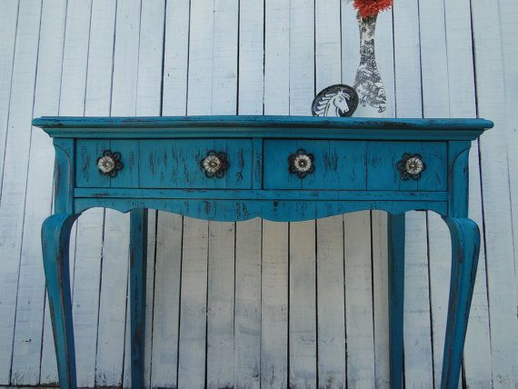 Wooden Desk Vanity Entry Way Table In Distressed Teal Turquoise Blue Black  Red With Drawers Beach Cottage Shabby Chic Country Primitive