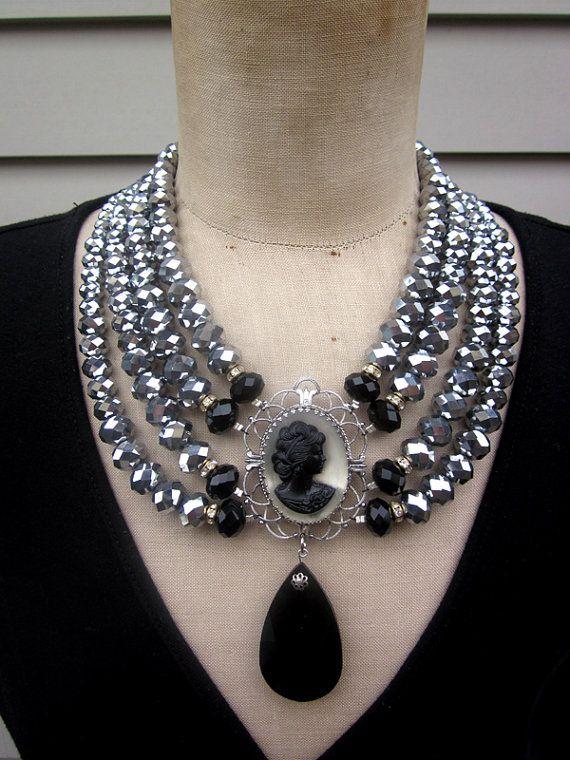 Statement Necklace Multi Strand Necklace Vintage by rebecca3030, $189.00