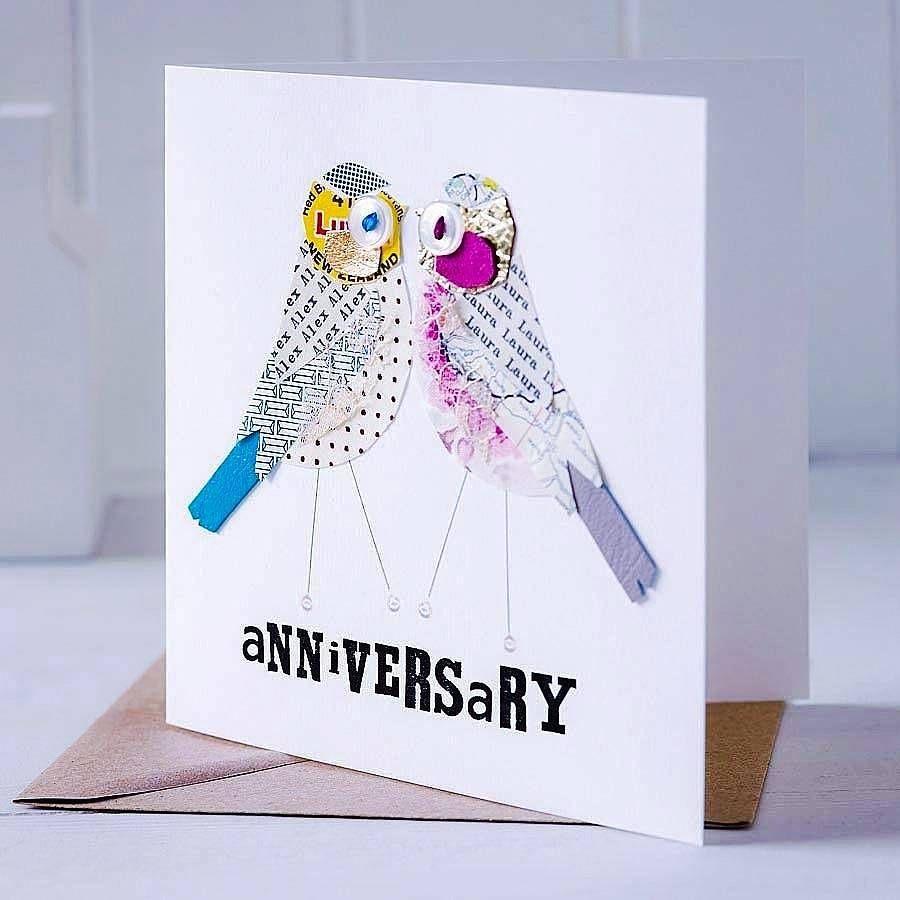 Personalised love bird anniversary card anniversary