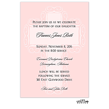 Pink Cross Invitation Baptism Christening Invitations Little