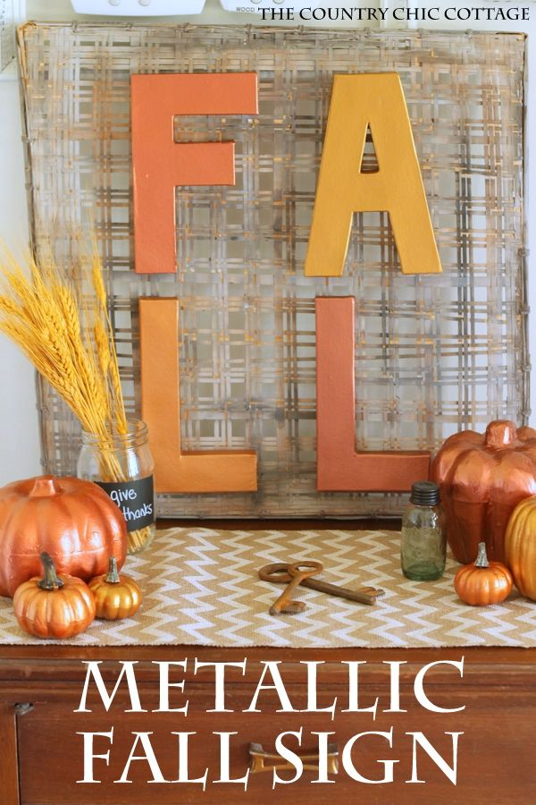 Make This Metallic Fall Sign In Just Minutes! A Fun Craft Project For Your  Home
