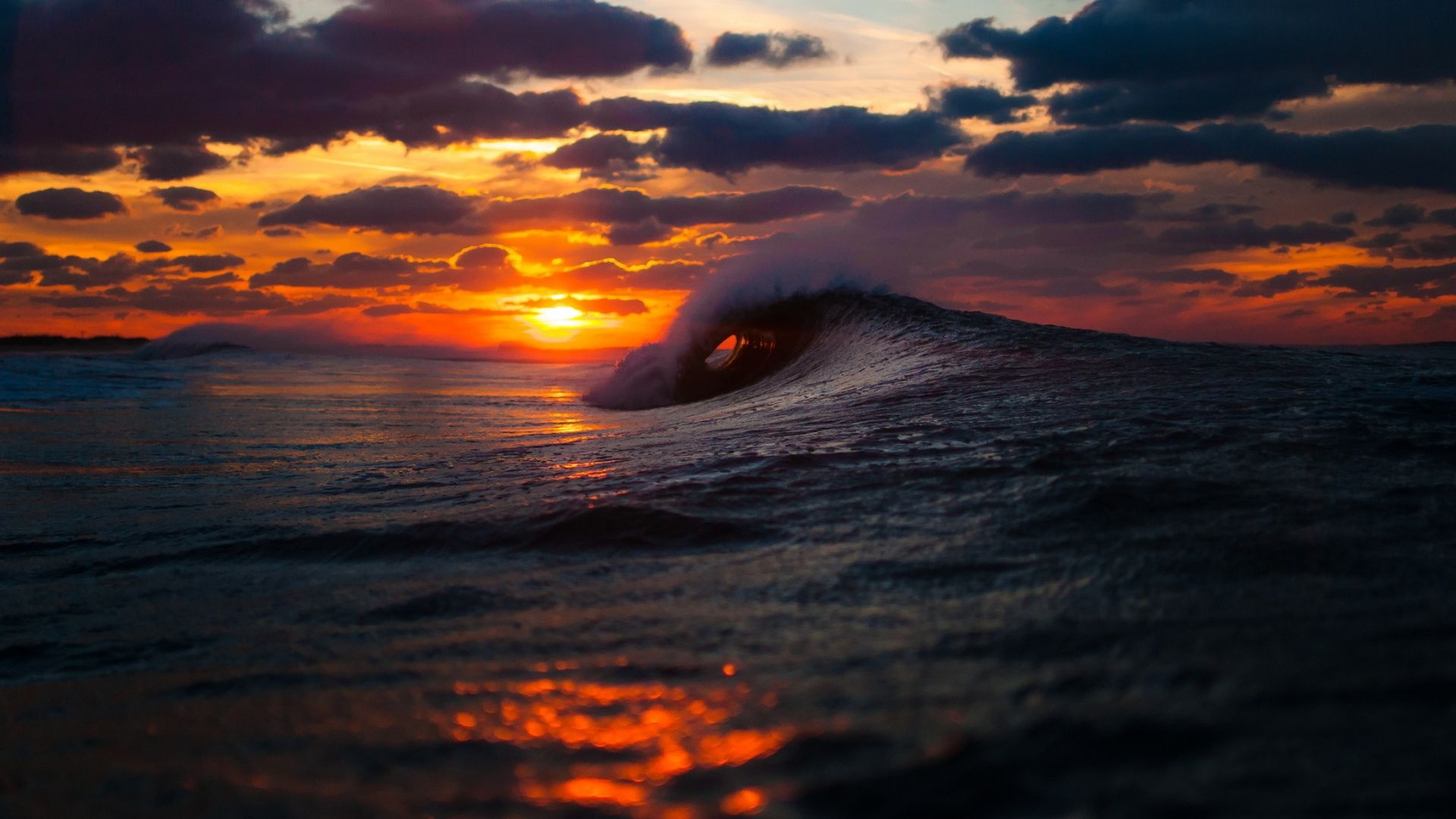 Sunset With Sea Wave Tap To See More Breathtaking Beach: Ocean Waves Sunset