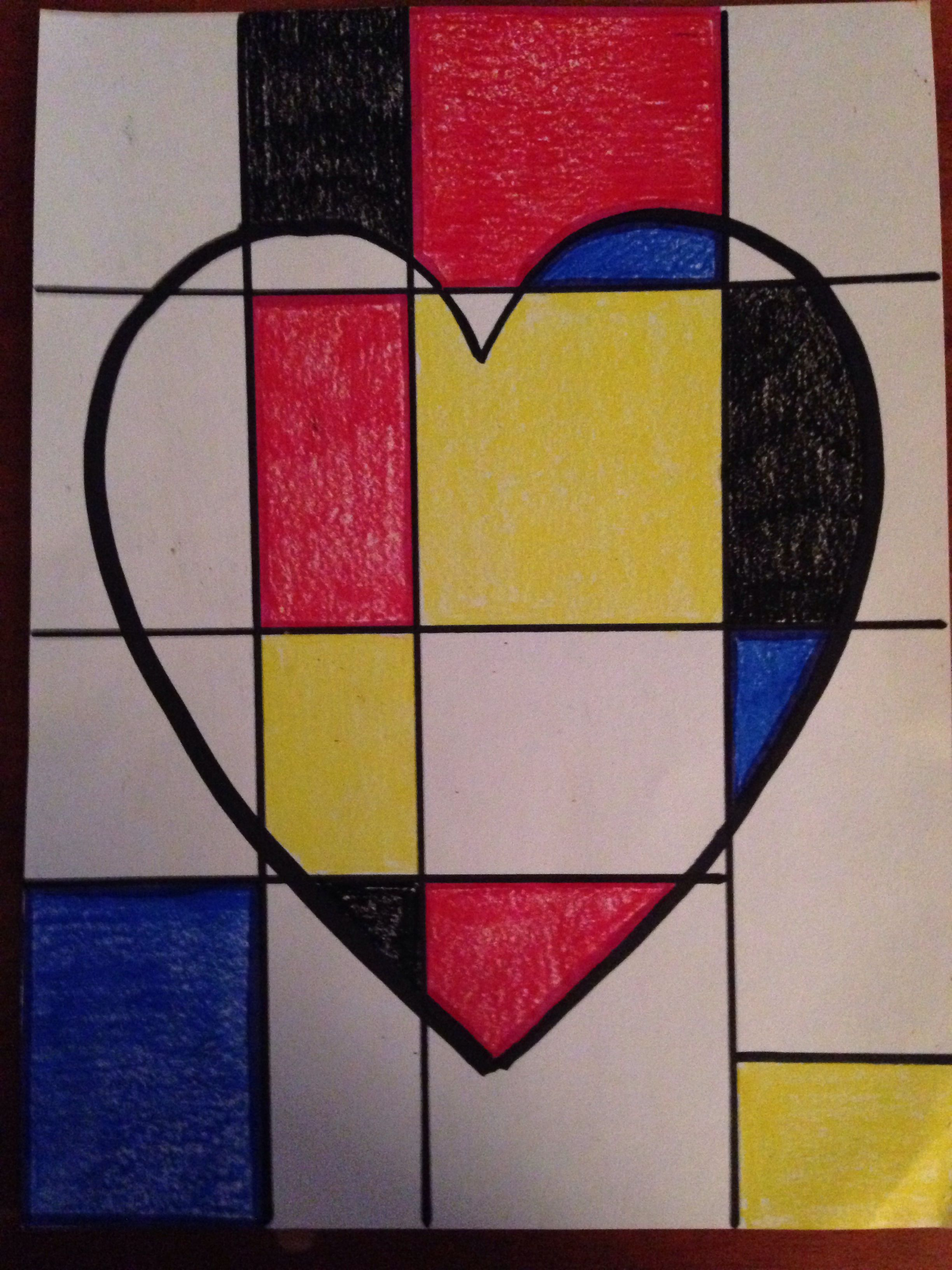 Mondrian hearts...elementary art project. Have them choose a style of artist to use to create their heart.