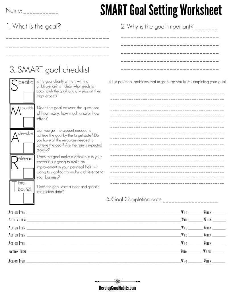 4 Free SMART Goal Setting Worksheets and Templates Smart