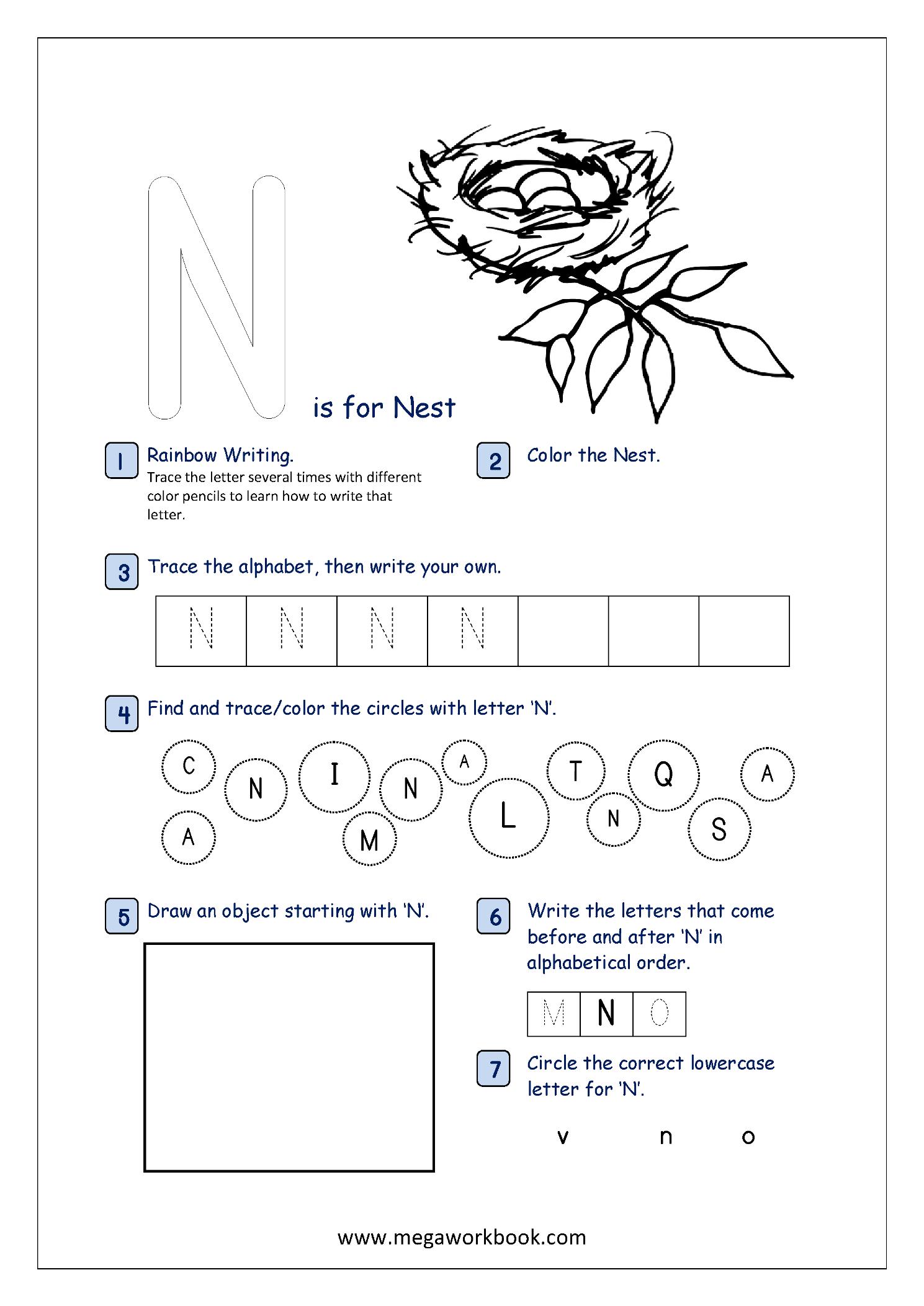 Alphabet Recognition Activity Worksheet - Capital Letter - N ...