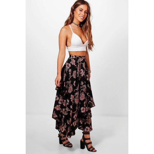 8b80f340d Boohoo Petite Lola Floral Print High Low Hem Maxi Skirt featuring polyvore,  women's fashion,