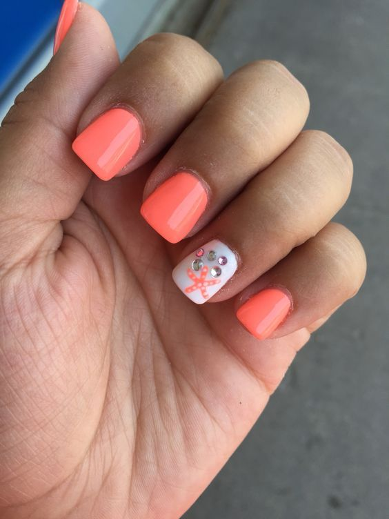 Are You Looking For Easy Cute Bright Summer Nail Designs 2018 See Our Collection Full Of Easy Cute Bright Summ Beach Nails Coral Nails Coral Nails With Design