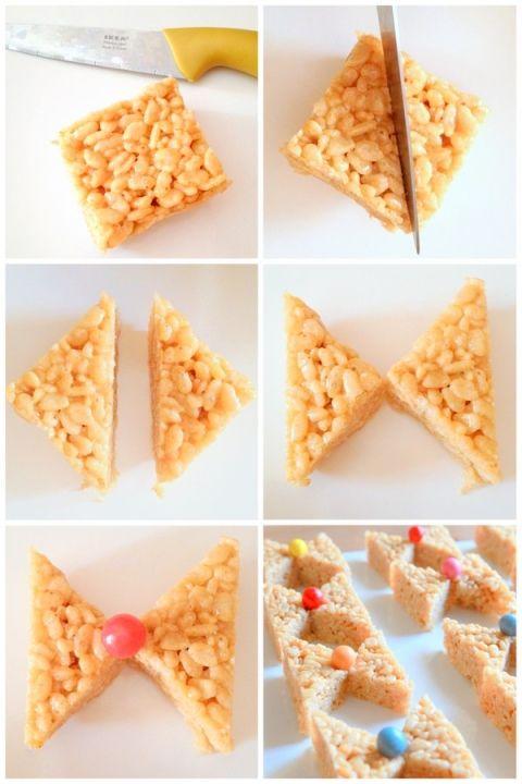 how to make bow shaped rice krispy treats | Baby shower ...