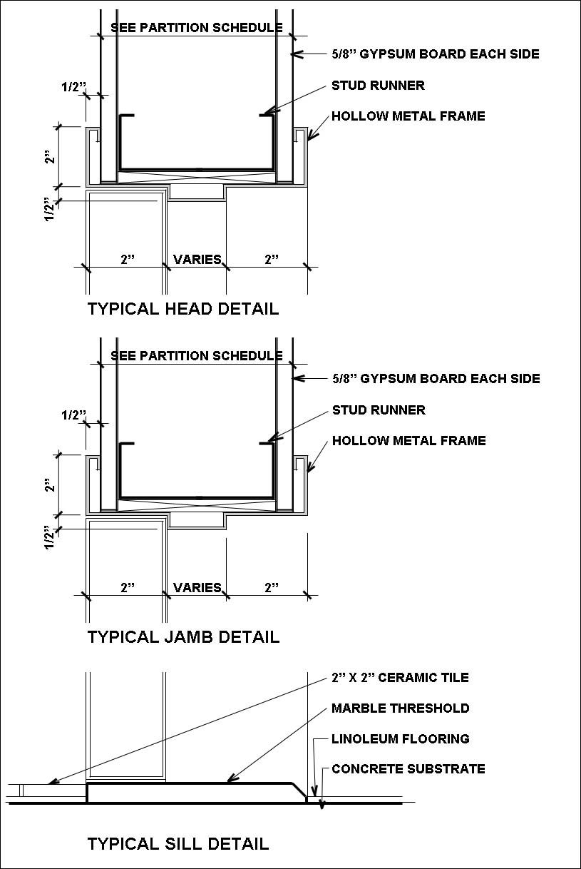 Exterior Hollow Metal Door Jamb Detail Construction