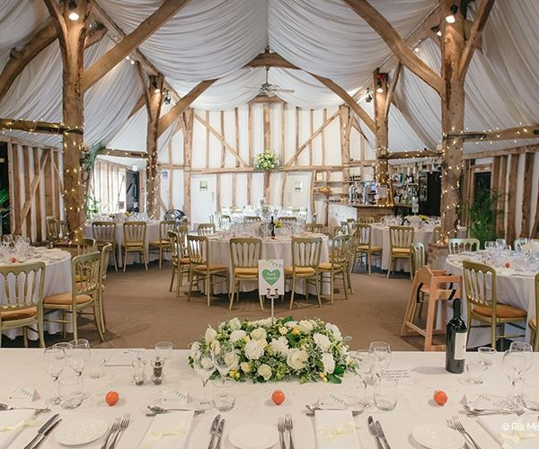 Set Up For A Wedding Reception At South Farm Venue In Cambridgeshire